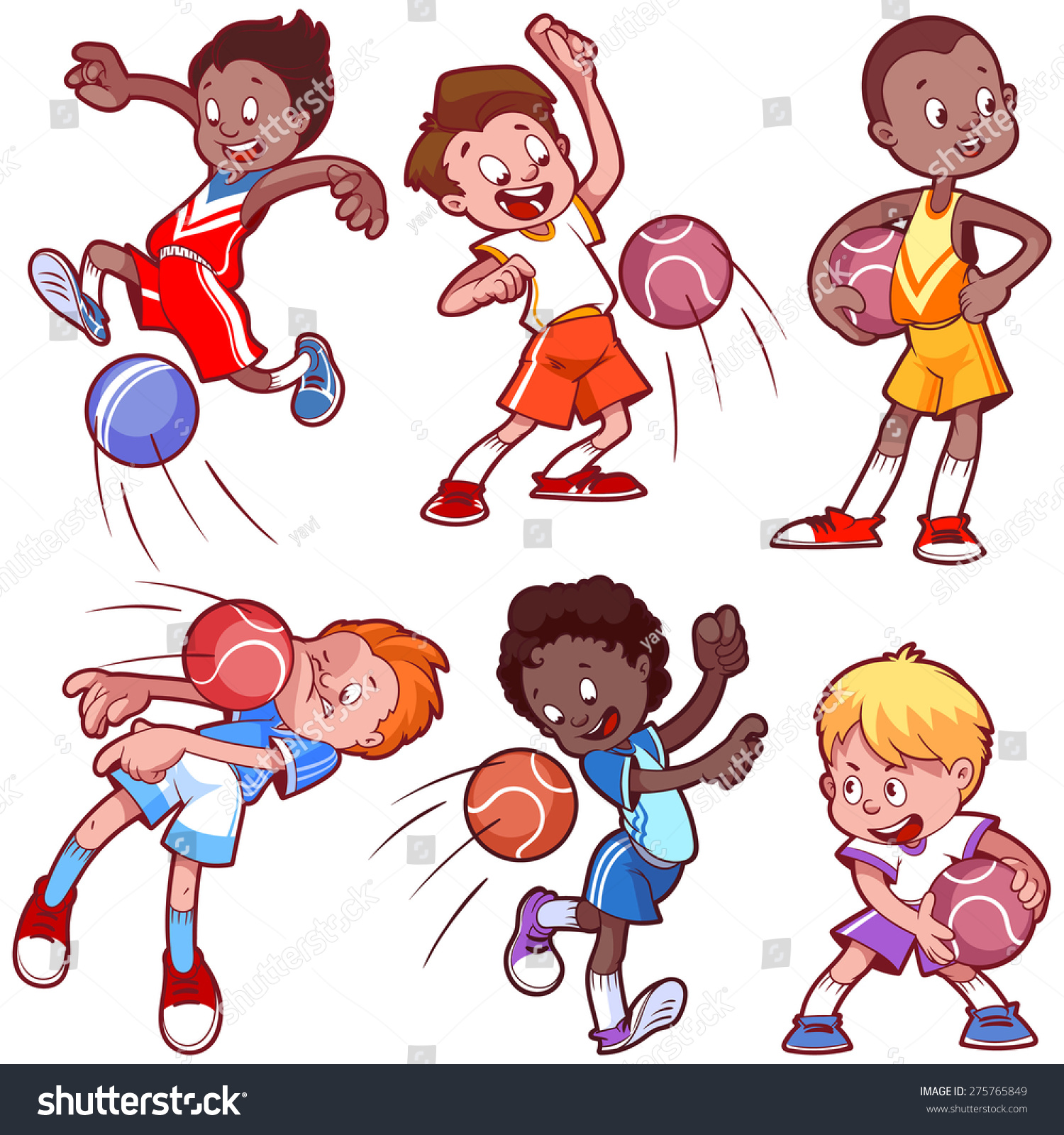 Cartoon Boys Playing Dodgeball Vector Clip Stock Vector 275765849 - Shutterstock