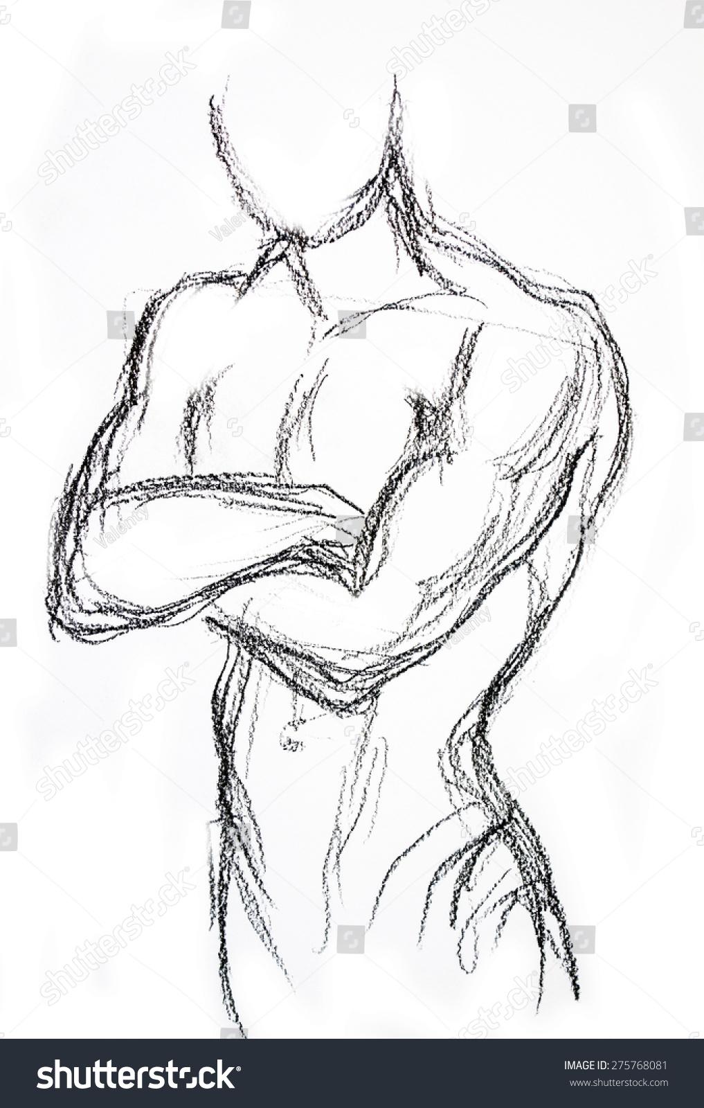 Man torso sketch pencil drawing