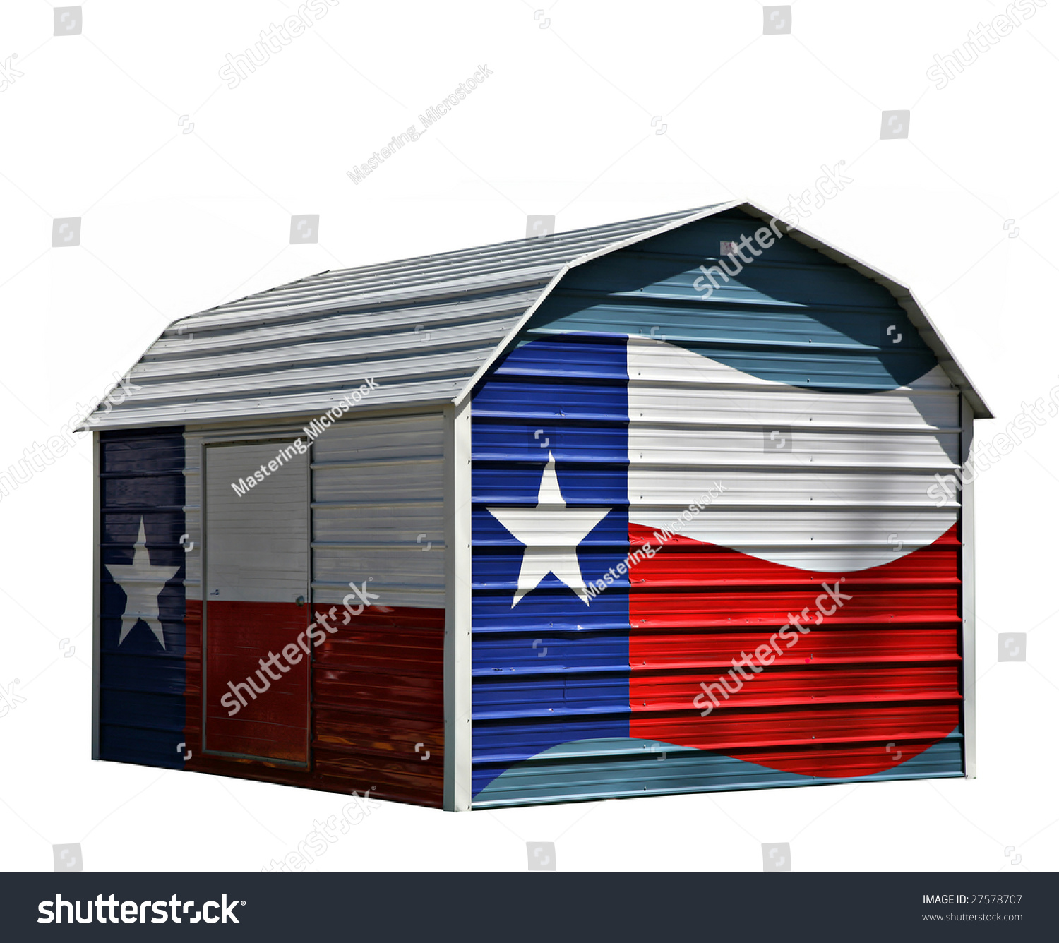 Metal Corrugated Storage Shed With Texas Lone Star Blue