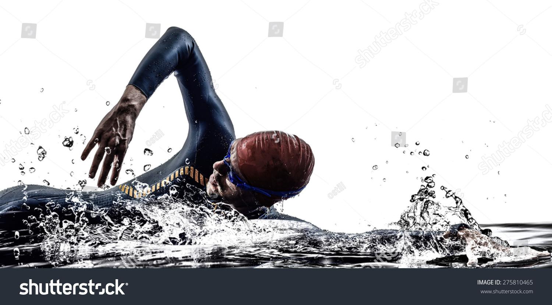 白い背景にシルエットで泳ぐ男性のトライアスロンの鉄人の選手