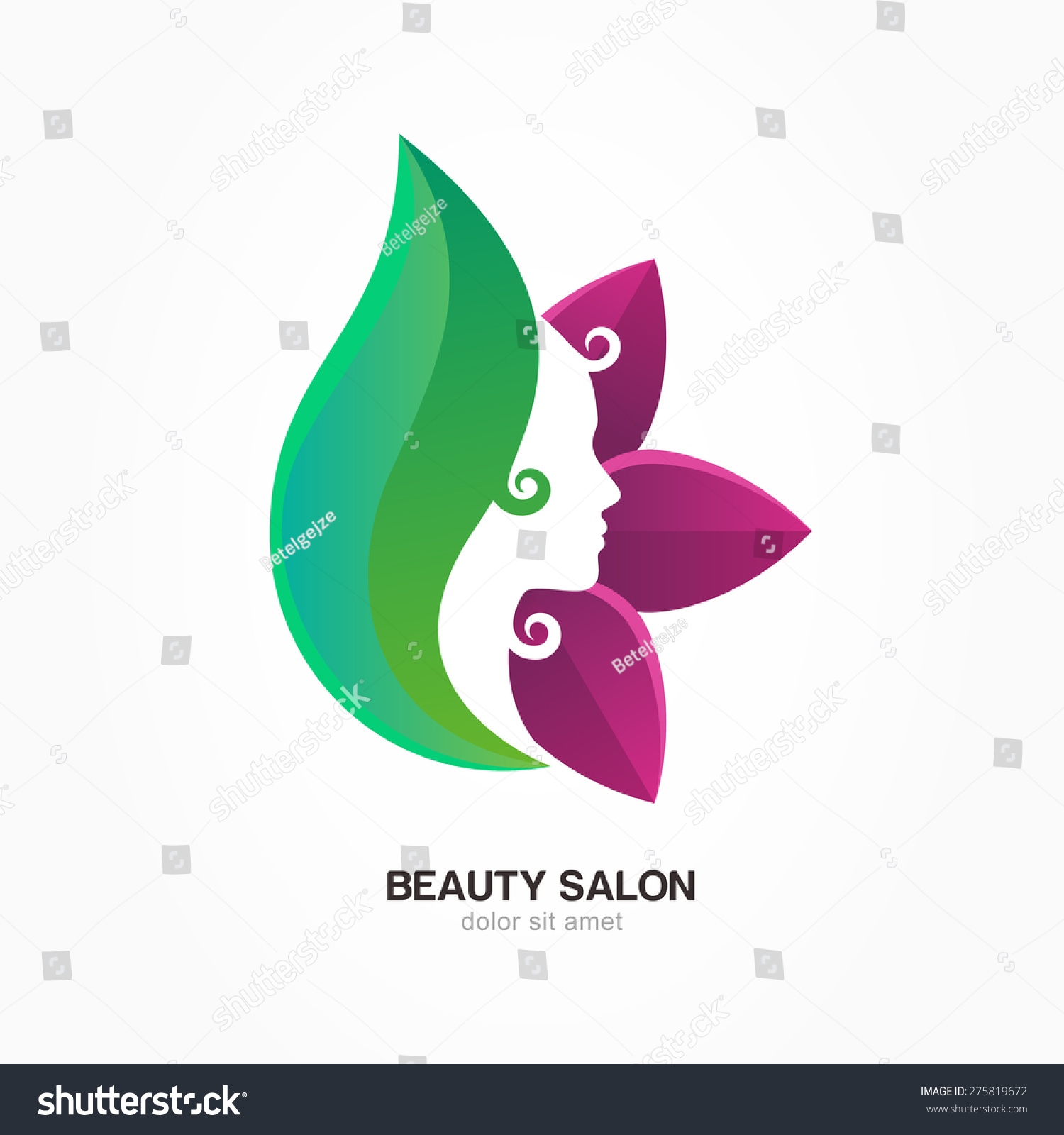 Beautiful womans profile face purple green stock vector for Abstract beauty salon