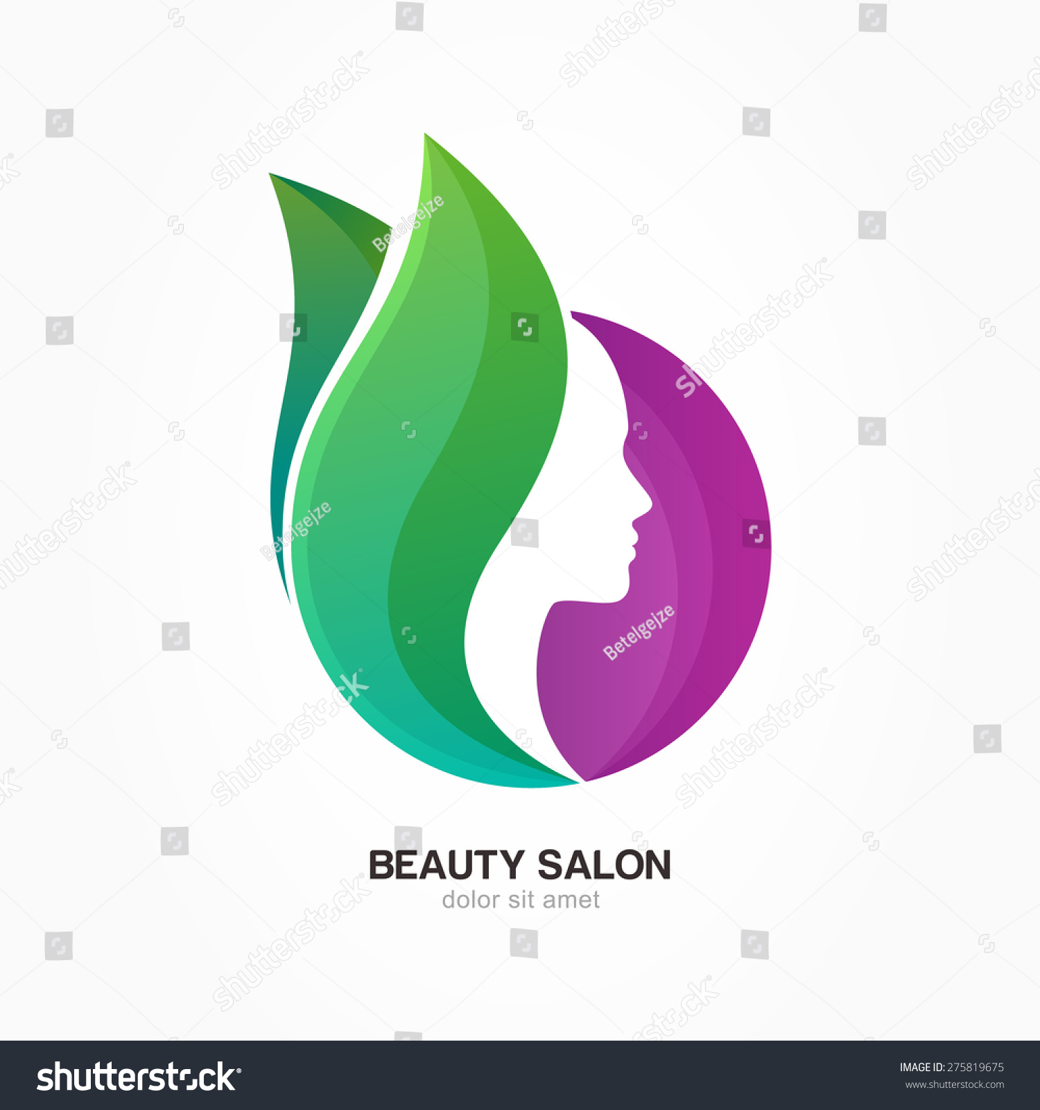 Womans face purple circle shape green stock vector for Abstract beauty salon
