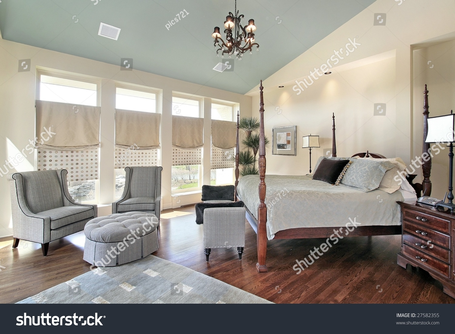 Master Bedroom With Sofa And Ottoman Stock Photo 27582355 Shutterstock