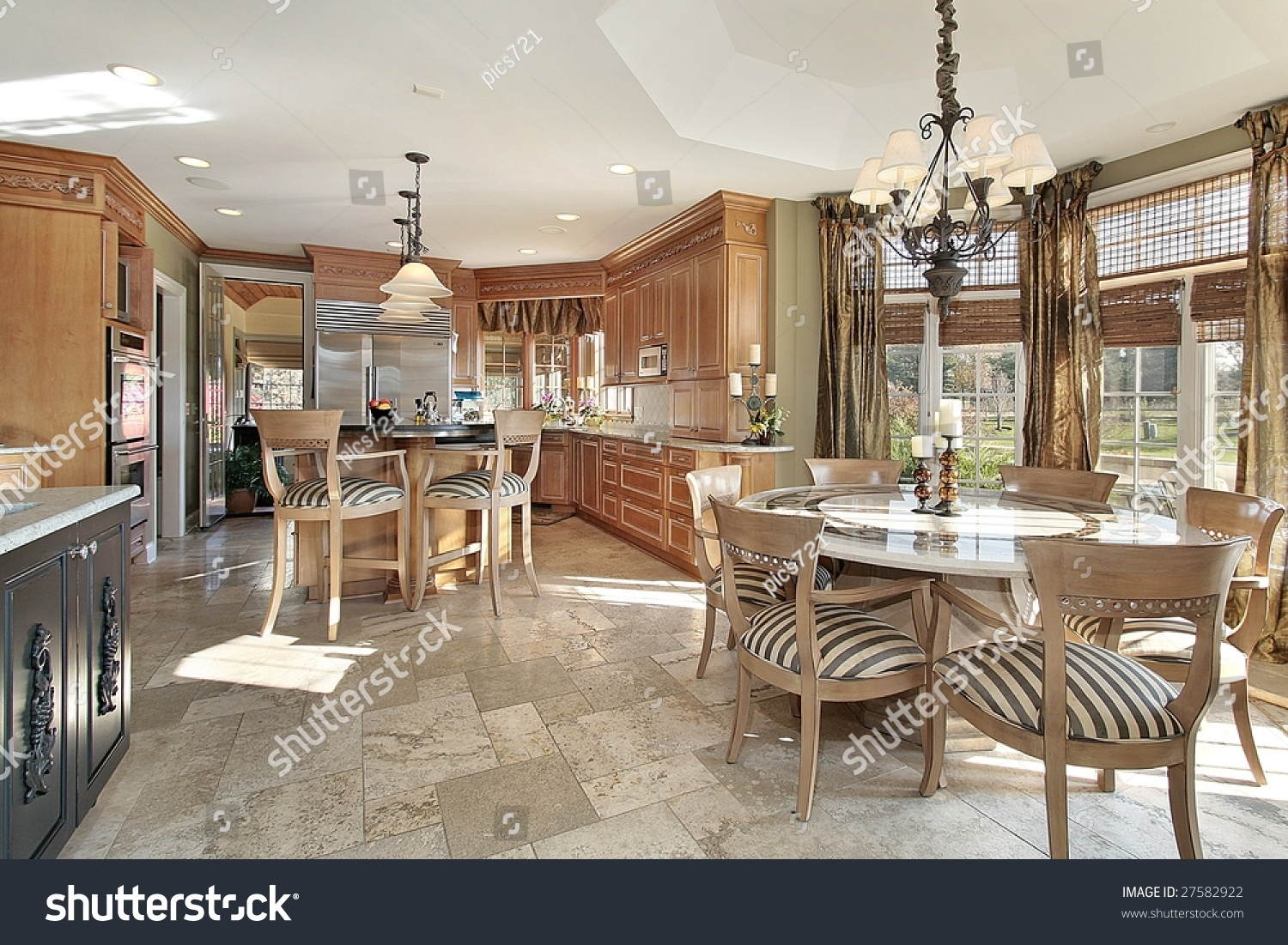 Kitchen With Island And Eating Area Stock Photo 27582922