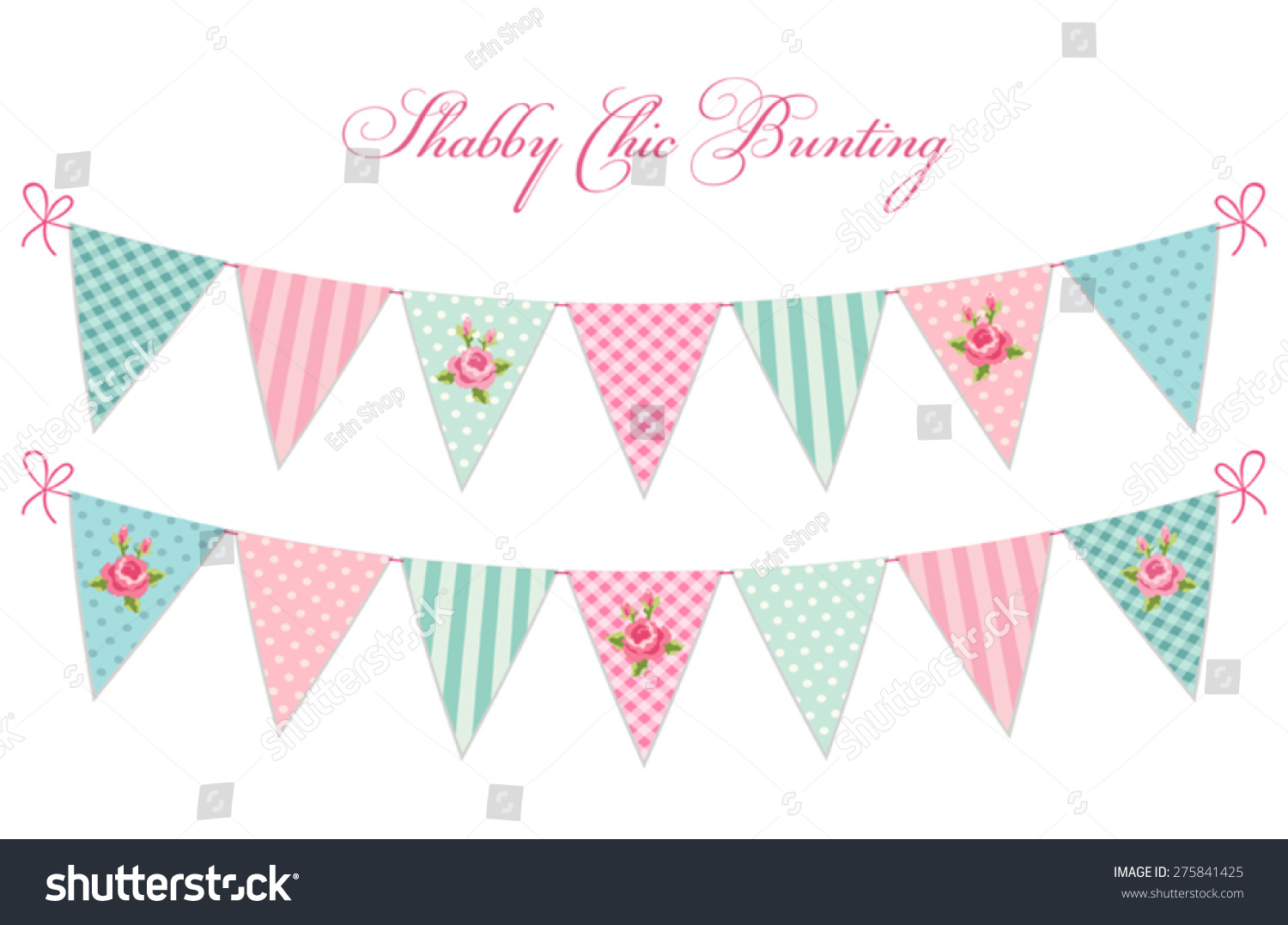 Vector bunting flags lovely celebration card with colorful paper - Cute Vintage Shabby Chic Textile Bunting Flags Ideal For Baby Shower Wedding Birthday