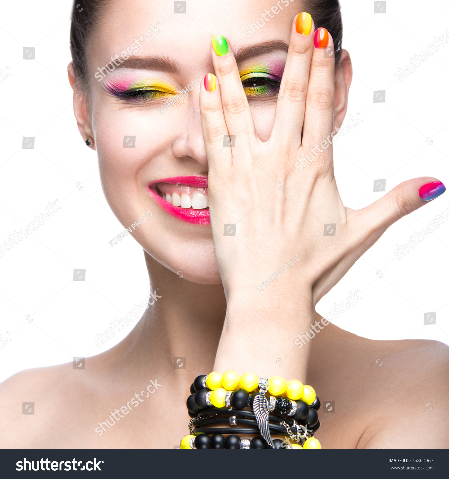 Beautiful Model Girl Bright Colored Makeup Stock Photo (Edit Now ...