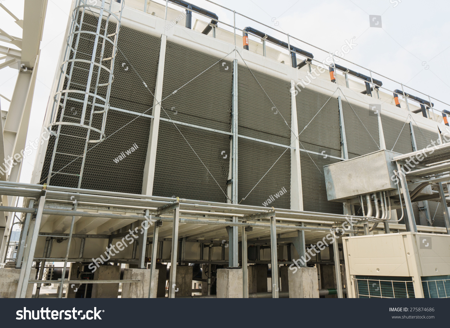 Cooling Tower At Roof Top, Air Conditioning Systems Building Stock ...