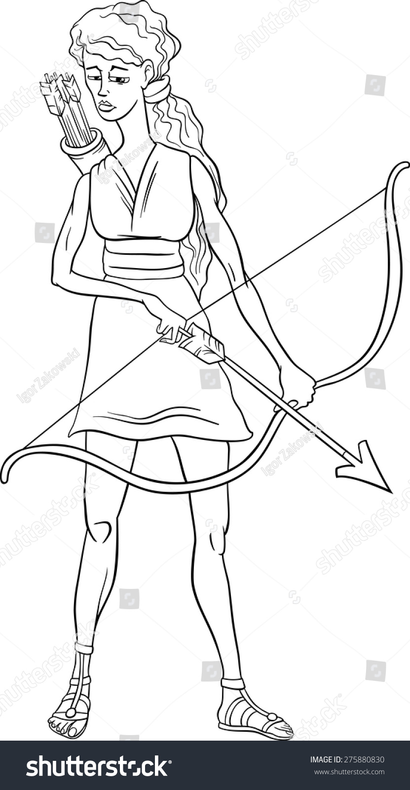Black white cartoon vector illustration mythological stock vector black and white cartoon vector illustration of mythological greek goddess artemis for coloring book biocorpaavc Choice Image