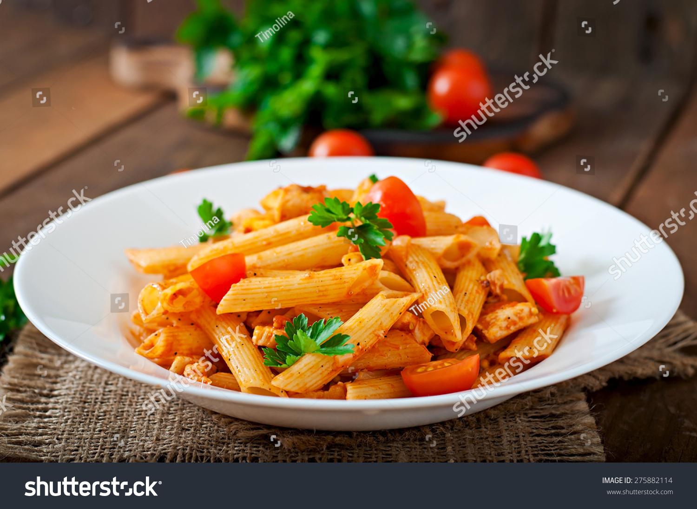 Penne Pasta Tomato Sauce Chicken Tomatoes Stock Photo ...