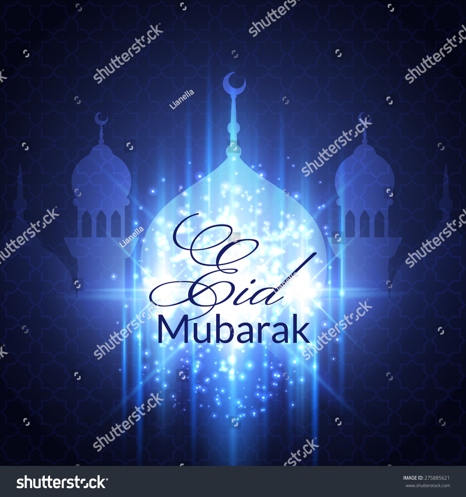 eid mubarak greeting card with mosque and lights vector
