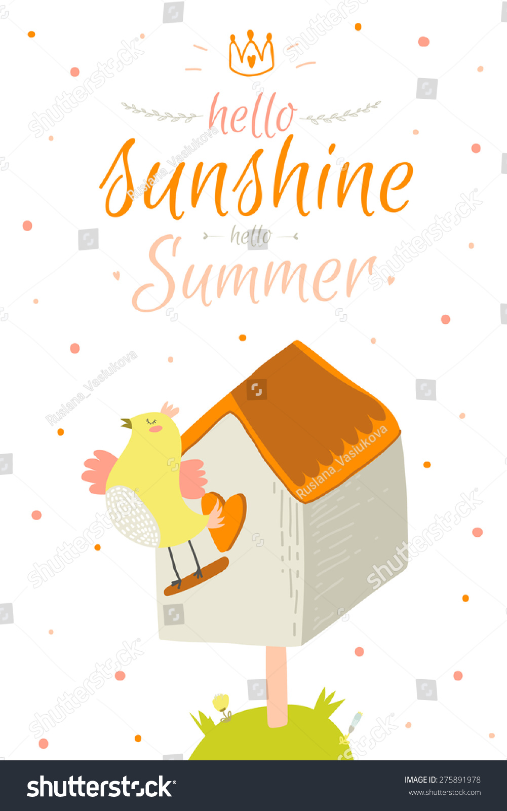 Greeting Card Cute Funny Vector Summer Stock Vector Royalty Free