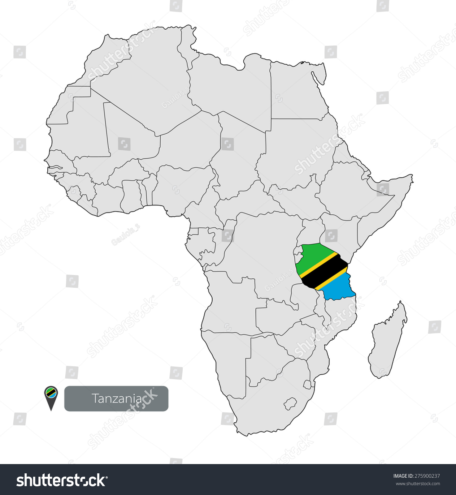 Map Tanzania Official Flag Location On Stock Vector (Royalty Free