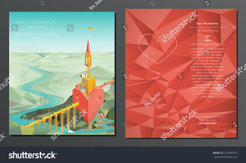 Fairy Tail Wedding Card Vector Double Stock Vector 275900519 ...