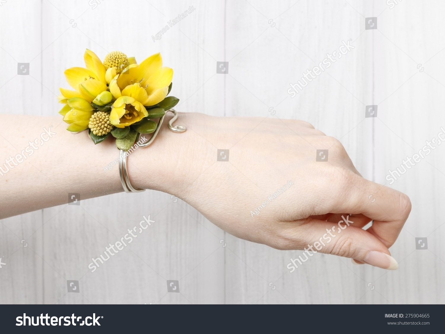 Wrist Corsage Made Yellow Flowers Stock Photo Edit Now 275904665