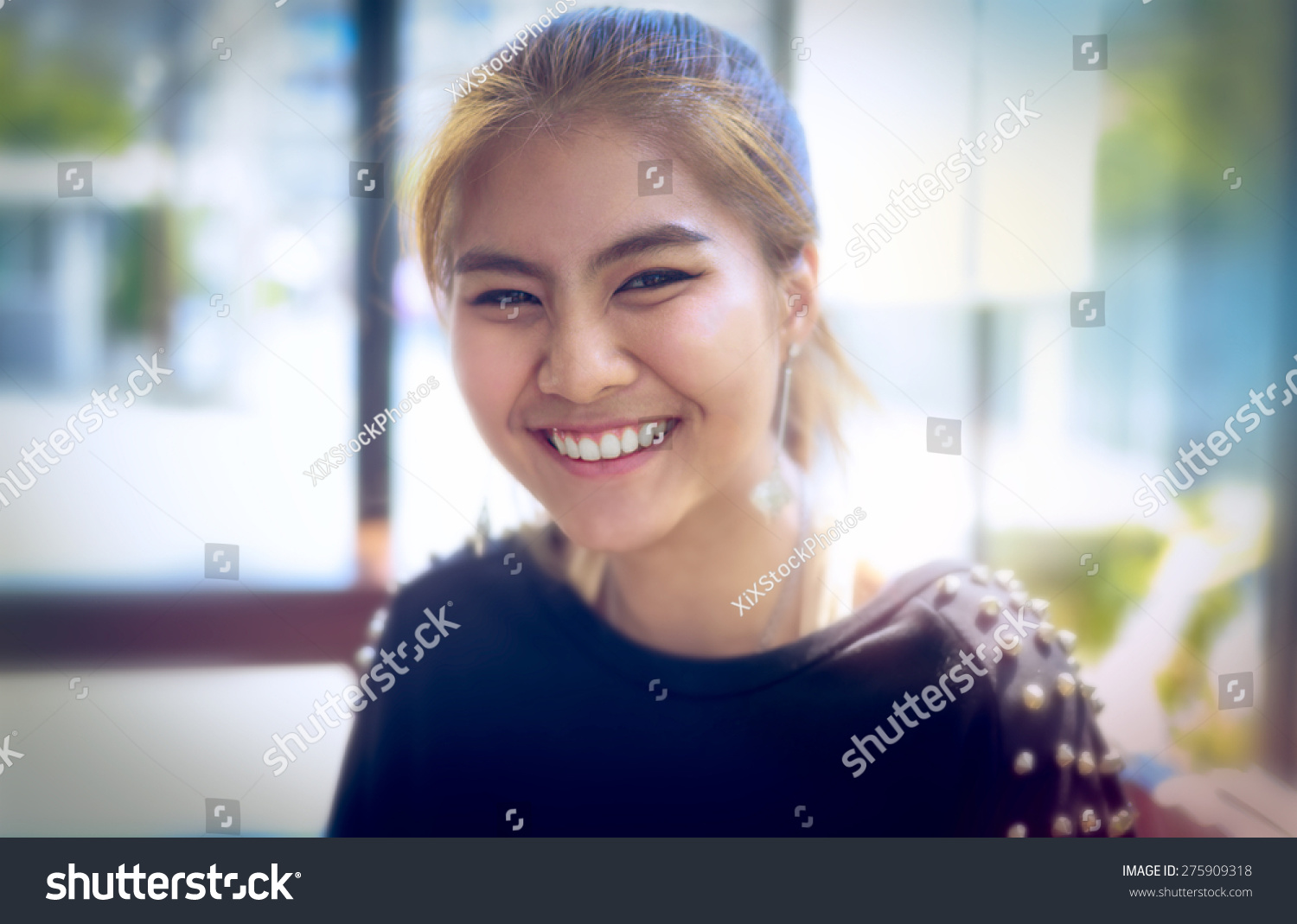 happy woman Asia Smiling white Teeth clean light background teenager  gold-brown hair ,make
