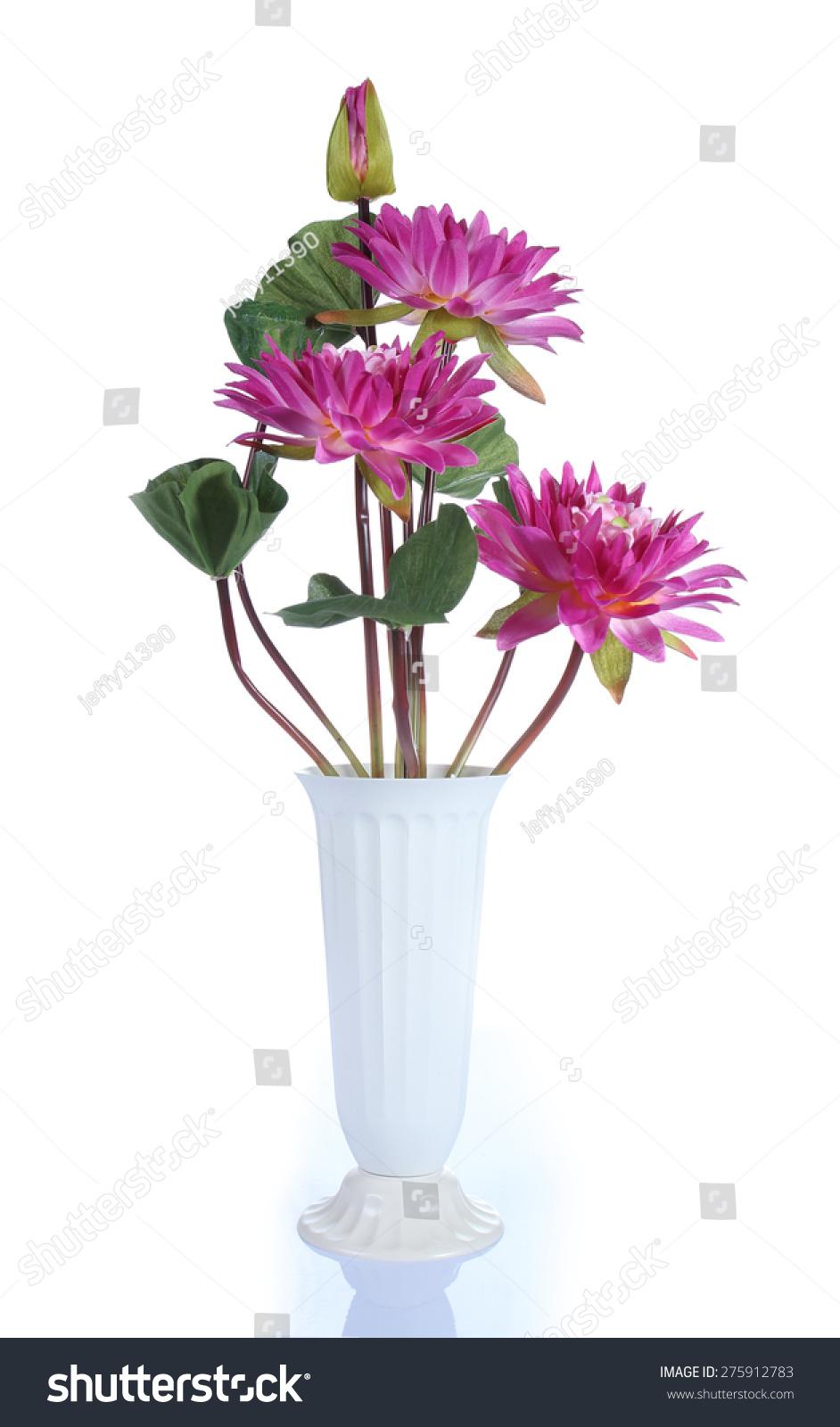 Red Lotus Flower In Vase On White Background Ez Canvas