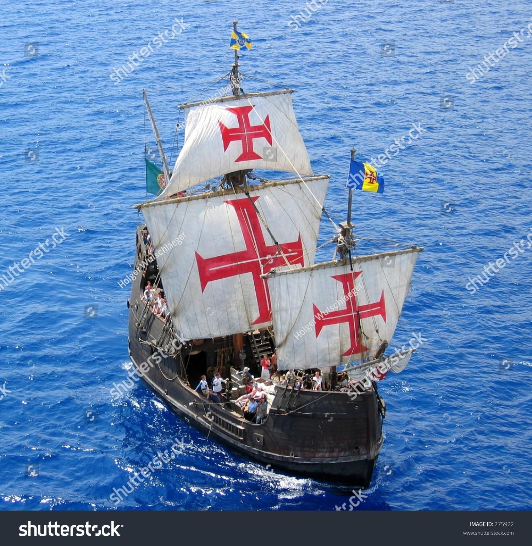 Replica Christopher Columbus Ship Santa Maria Stock Photo ...