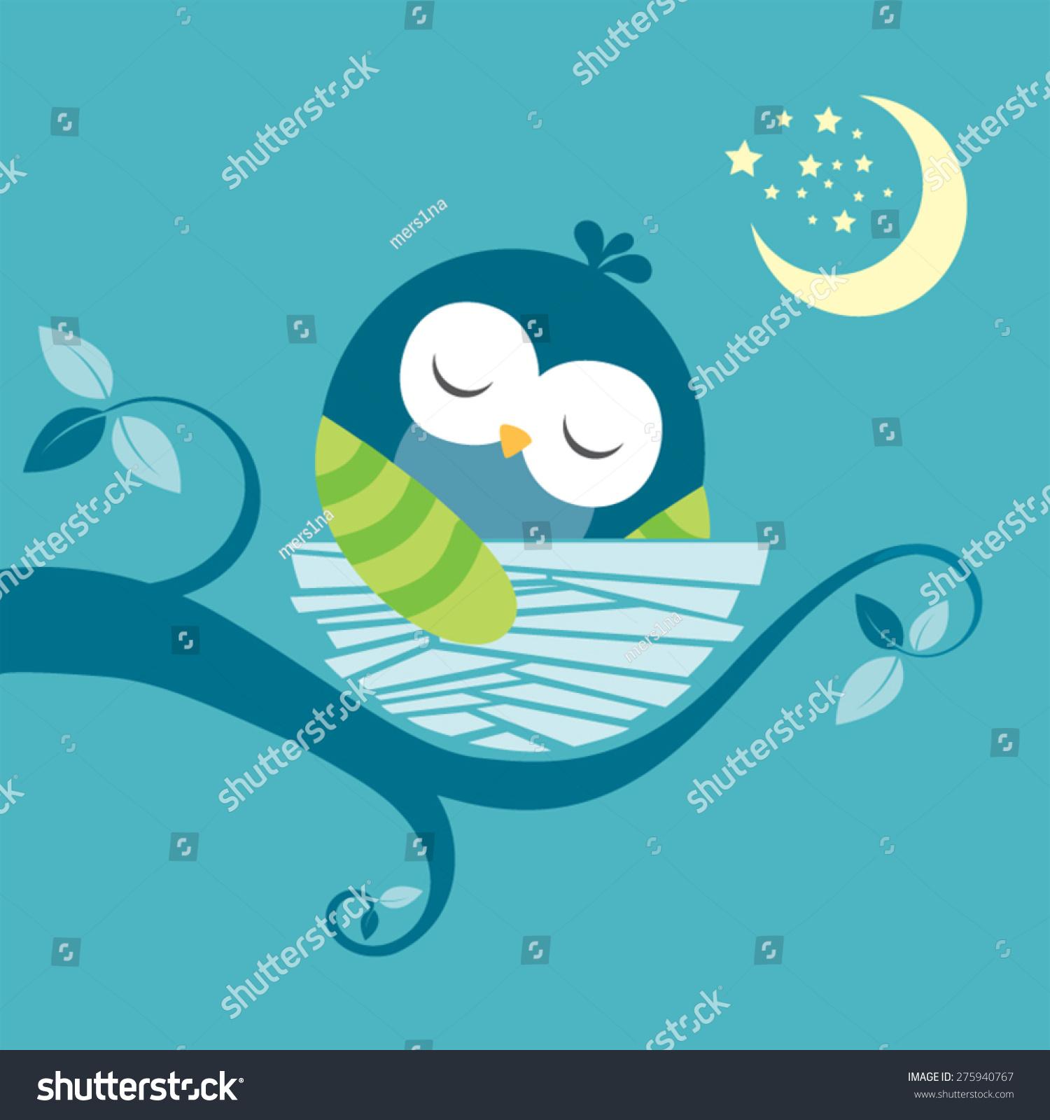 Cute Sleeping Baby Owl Vector Image Stock Vector Royalty Free 275940767