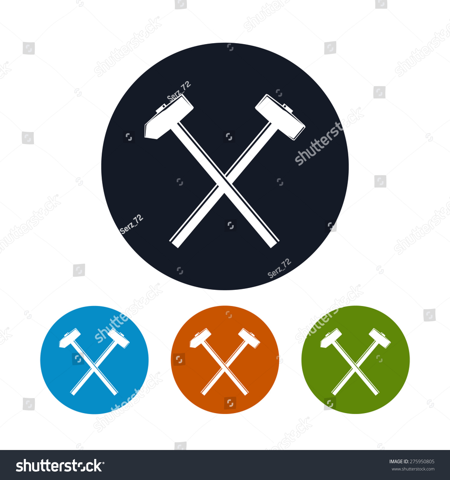 Icon Crossed Hammer Sledgehammer Four Types Stock Vector 275950805