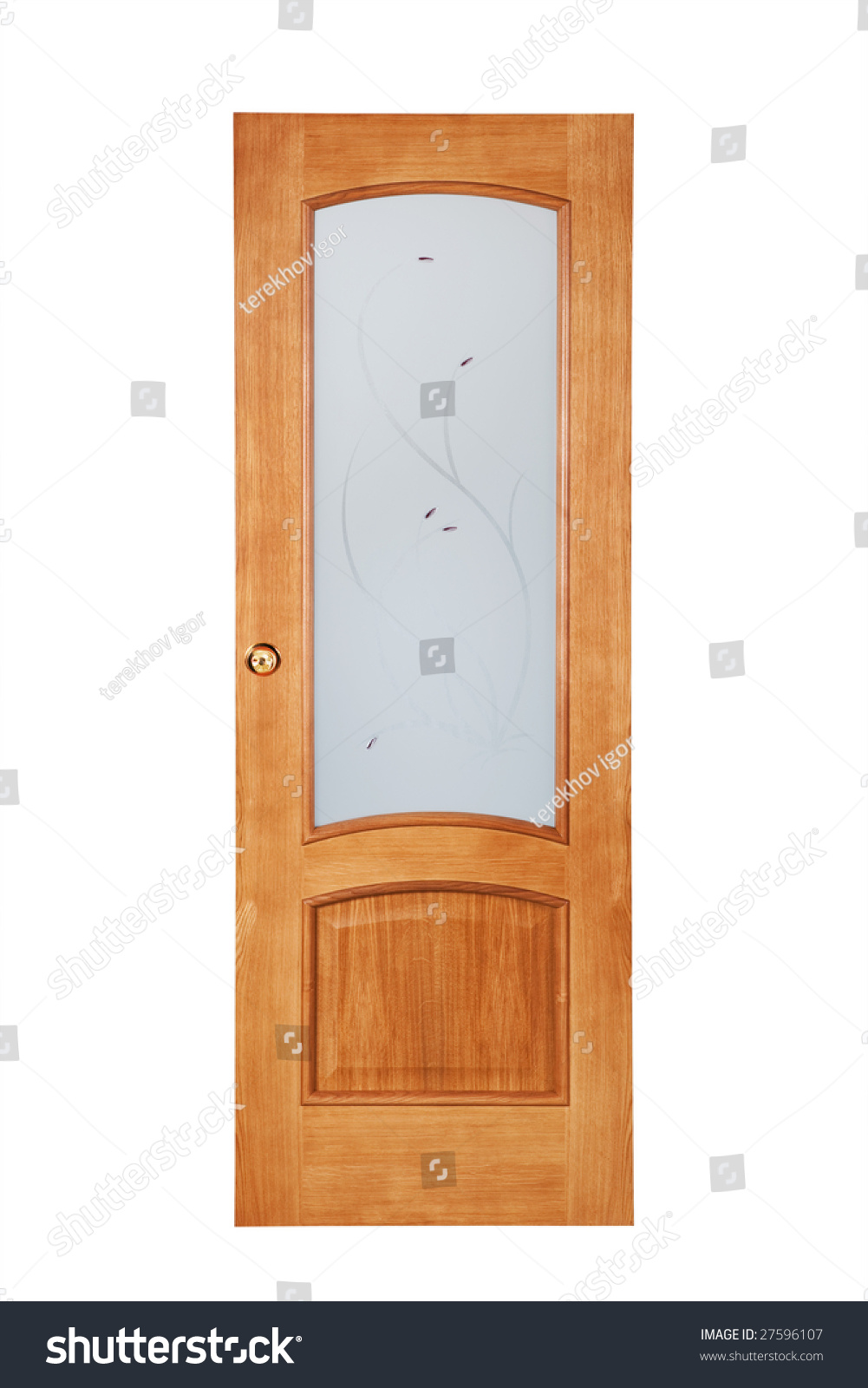 Beautiful wooden door on a white background stock photo for Beautiful wooden doors picture collection