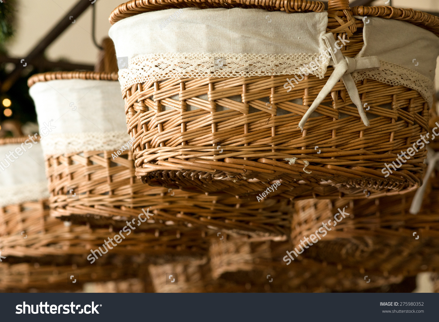Baskets hanging from the ceiling stock photo