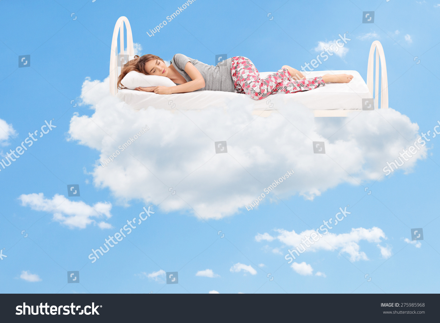 Floating Cloud Bed Relaxed Young Woman Sleeping On Comfortable Stock Photo 275985968