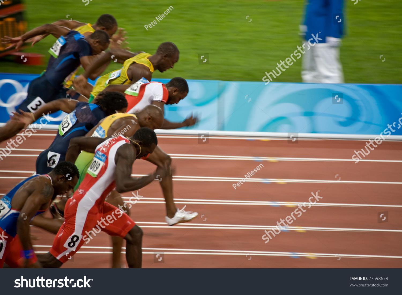 Beijing august 18 start of men s 100 meter sprint where usain bolt