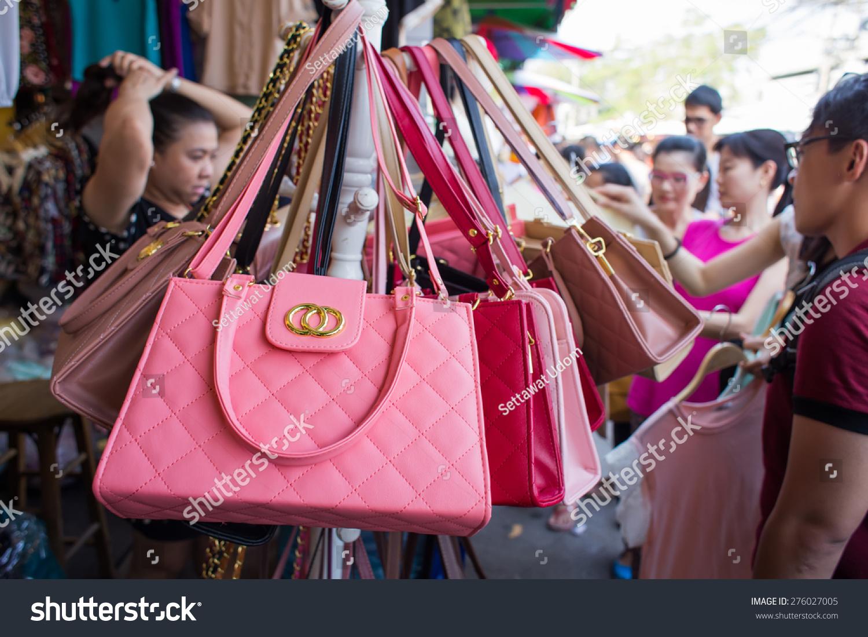 prada bags white leather - Bangkok, Thailand - March 15 : Fake Handbags On Display At Jatujak ...