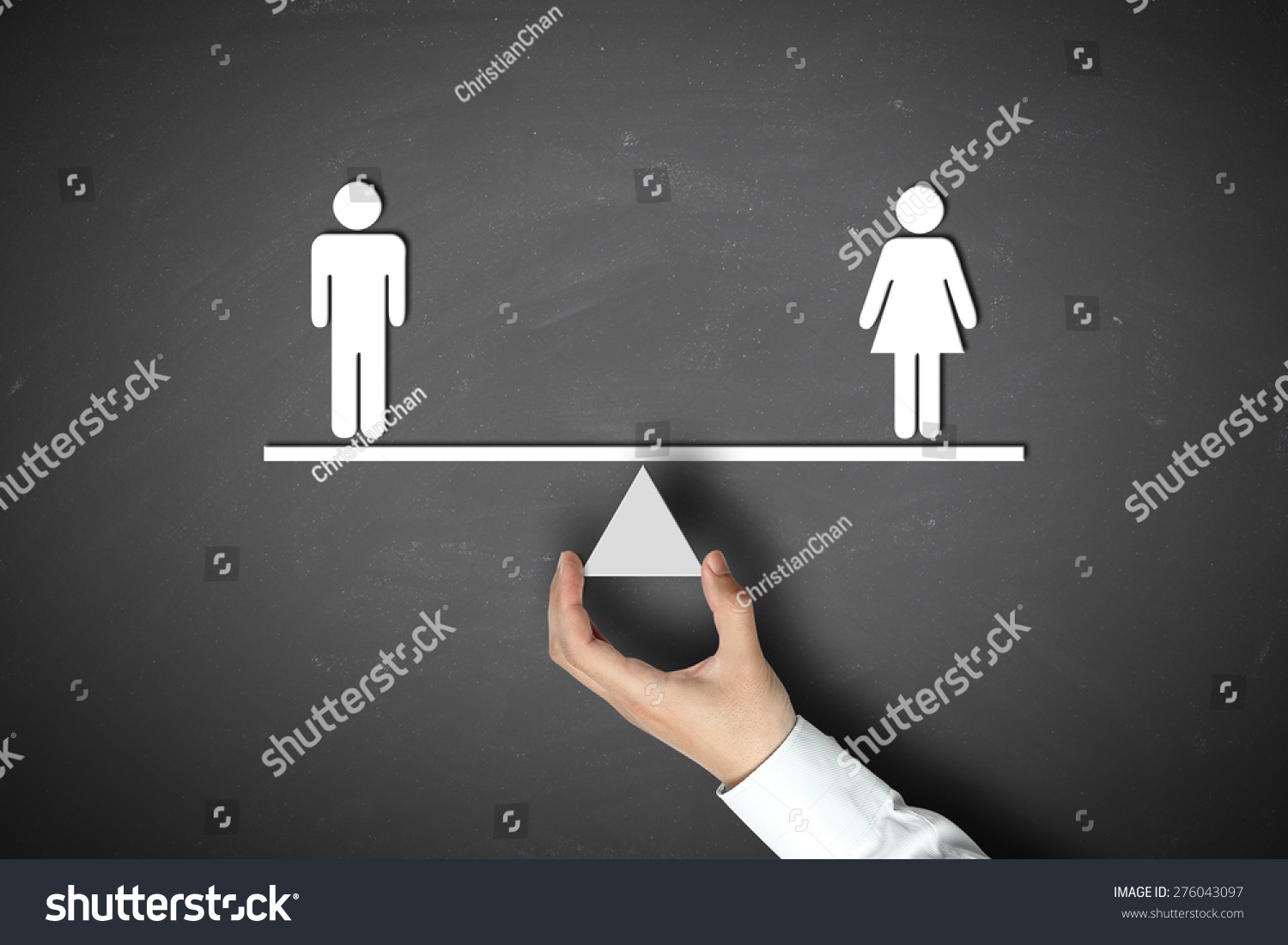 Technology Management Image: Male Equals Female Concept Businessman Hand Stock Photo