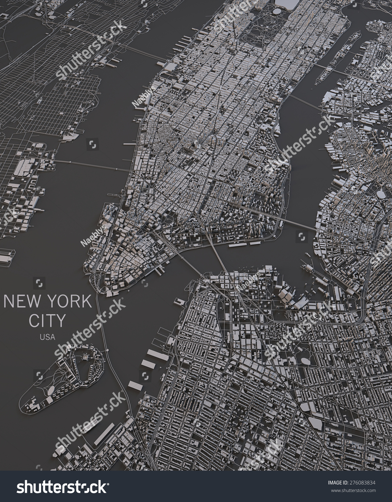 New York City Satellite Map View Map In Negative 3d