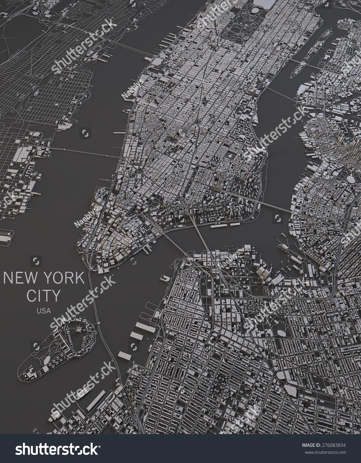 New York City Satellite Map View Stock Illustration 276083834