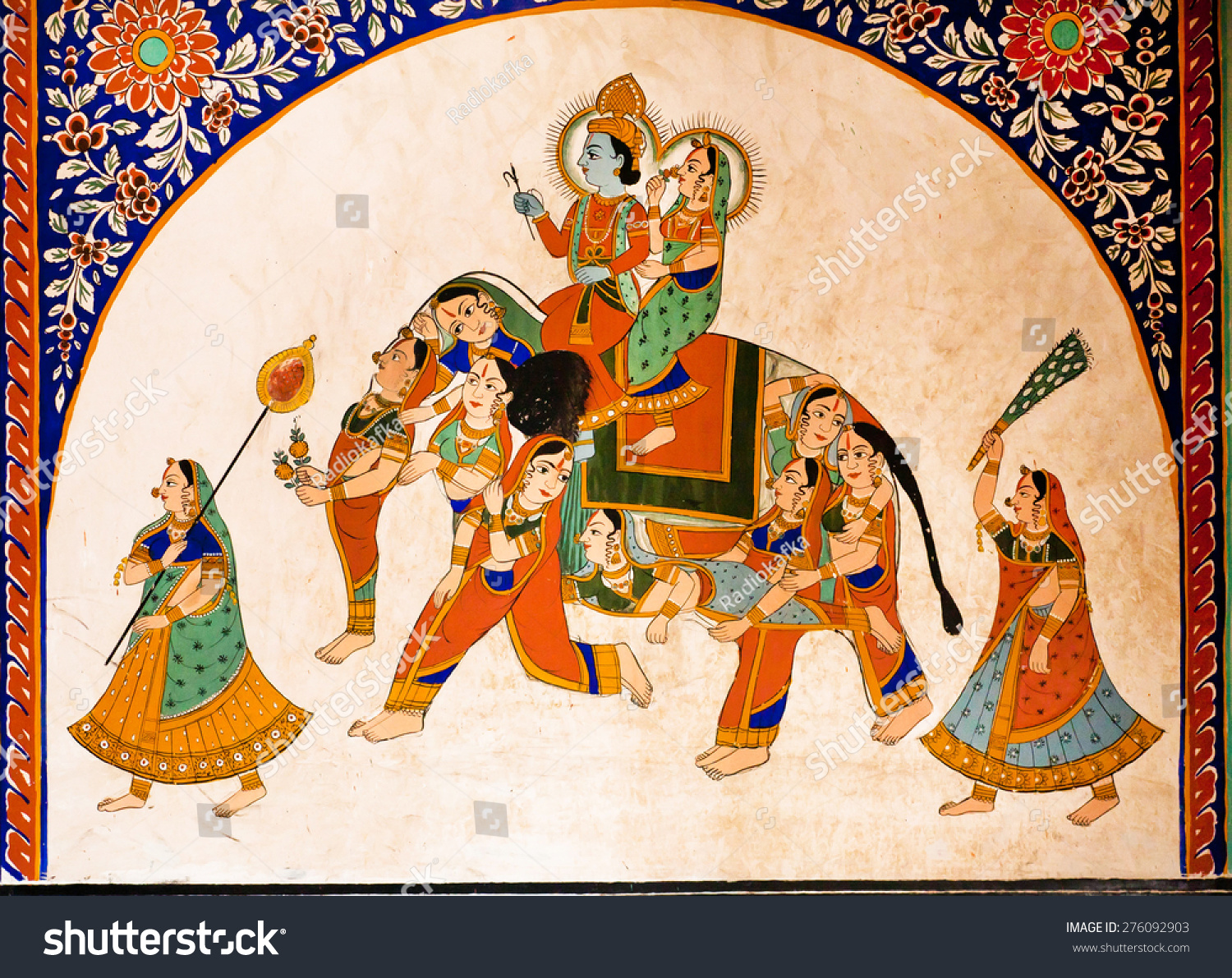Nawalgarh India  city photos : NAWALGARH, INDIA FEB 6: Old fresco with Krishna and Radha riding the ...