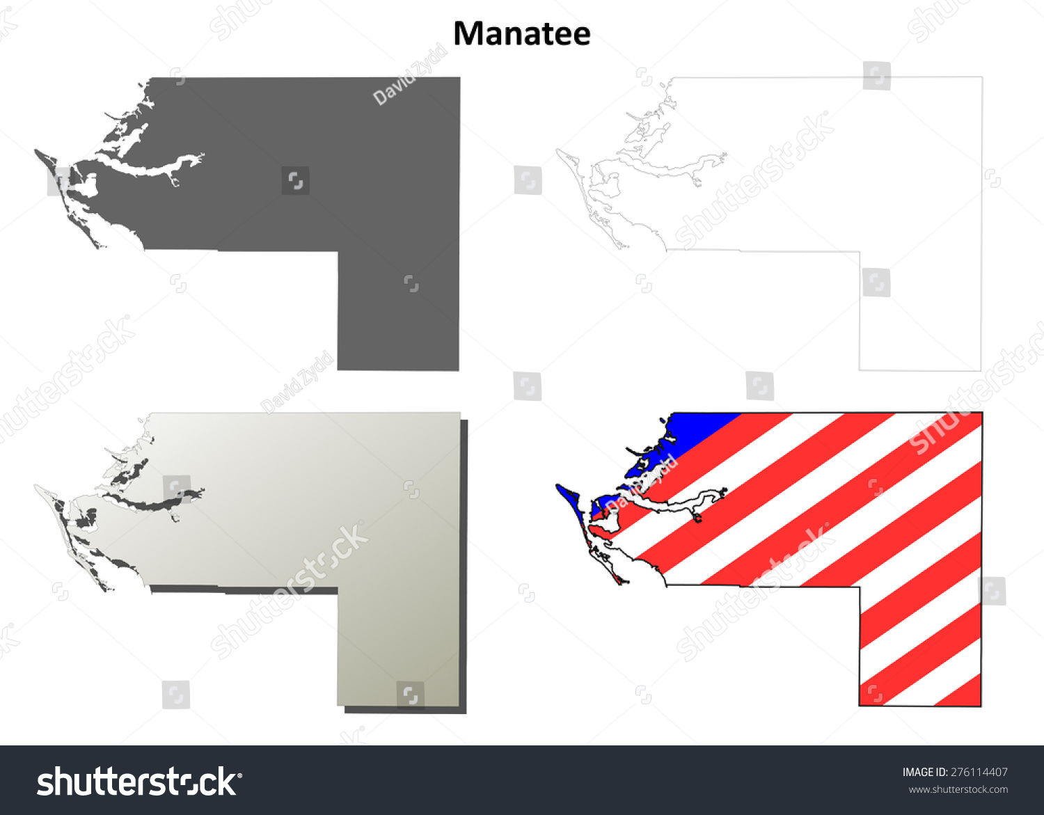 Manatee County Florida Outline Map Set Stock Vector Royalty Free