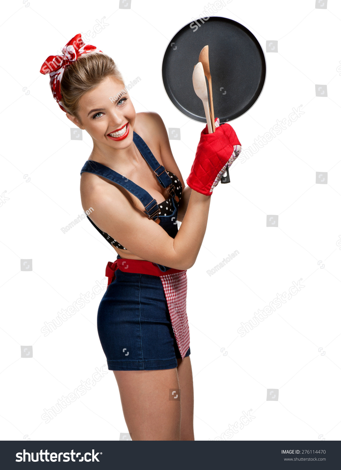 White gloves apron cleaning services - Appealing Maid Wearing Apron With Kitchen Utensils Young Beautiful American Pin Up Girl Isolated