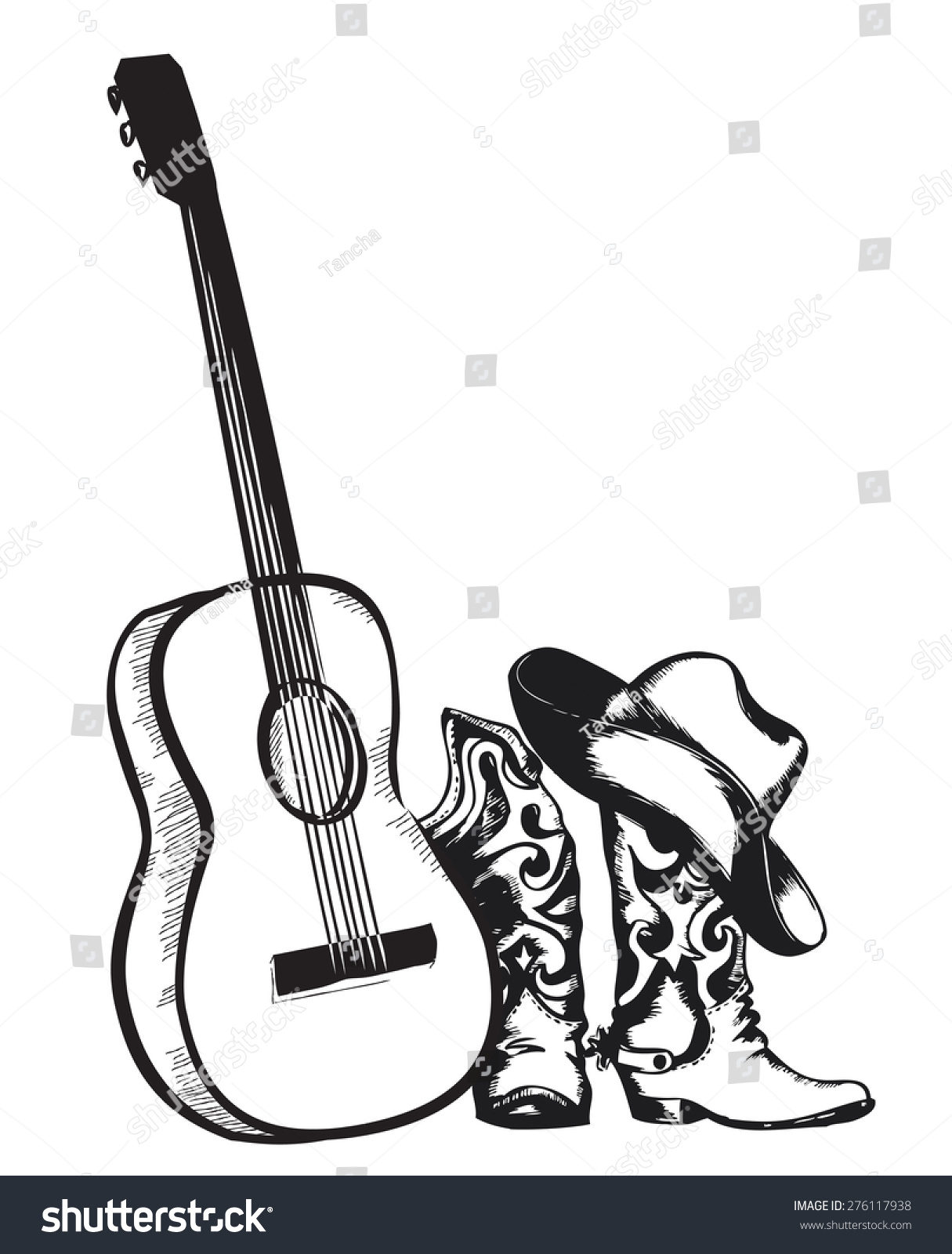 Western Country Music Cowboy Shoes Music Stock Vector ...