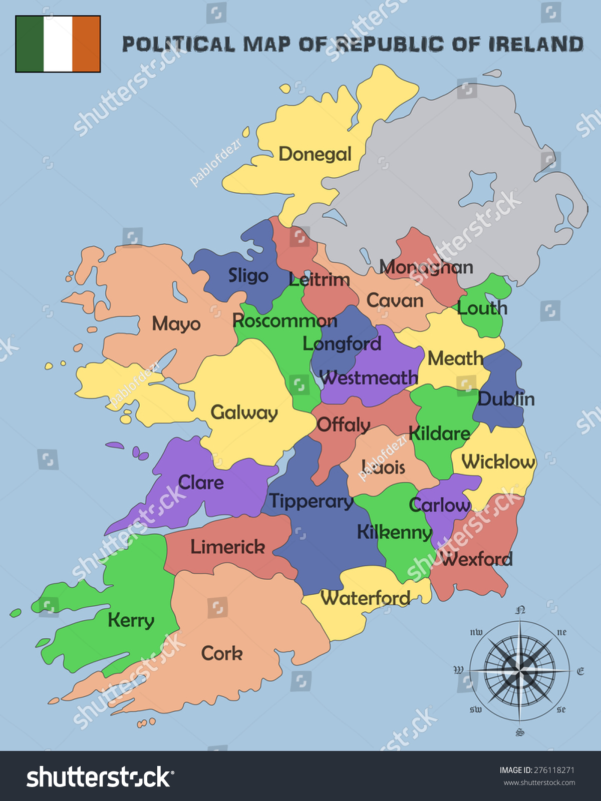 Political map republic ireland stock vector 276118271 shutterstock gumiabroncs Image collections