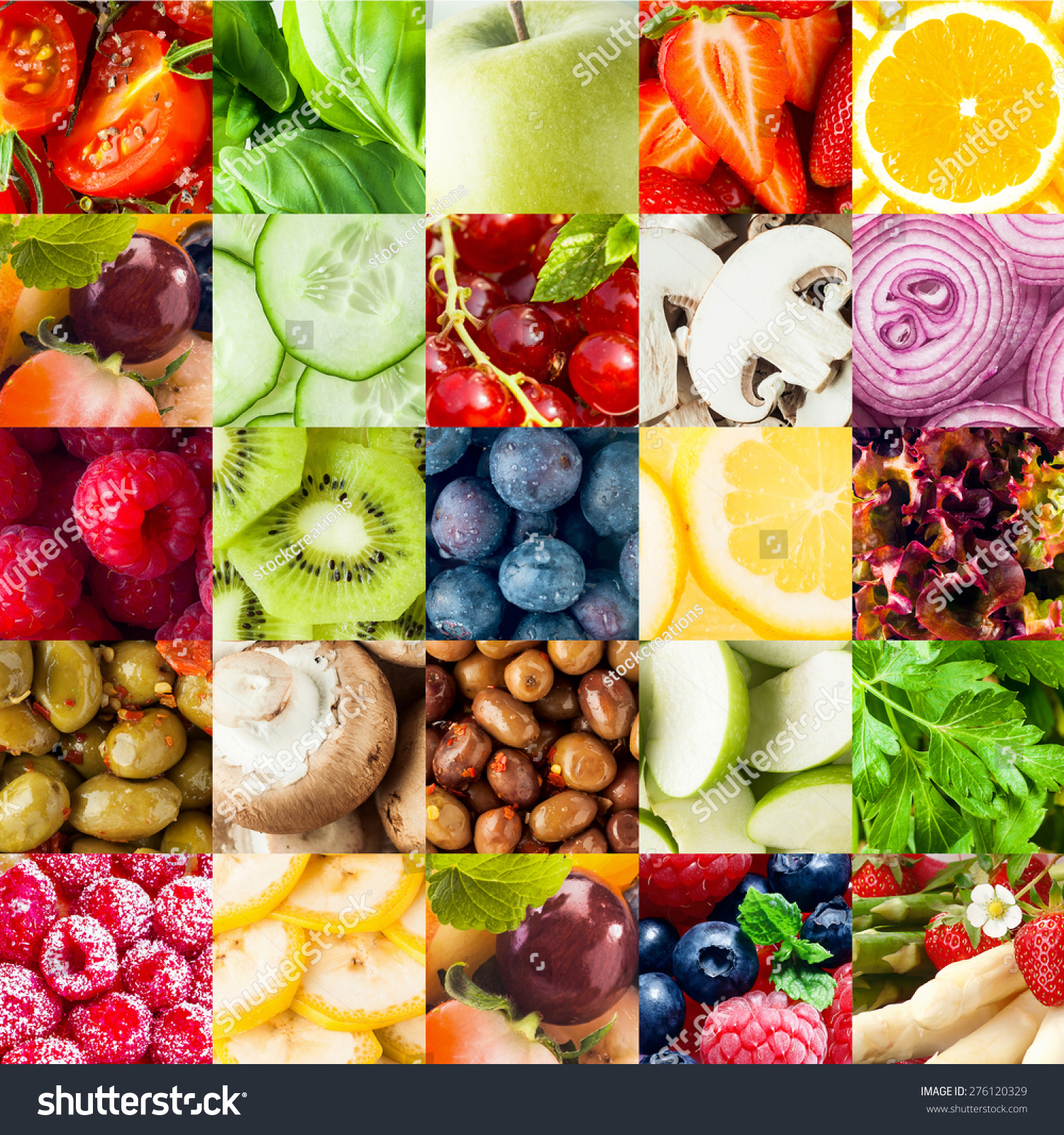 Colorful Fruit Vegetable Collage Food Background Stock ...