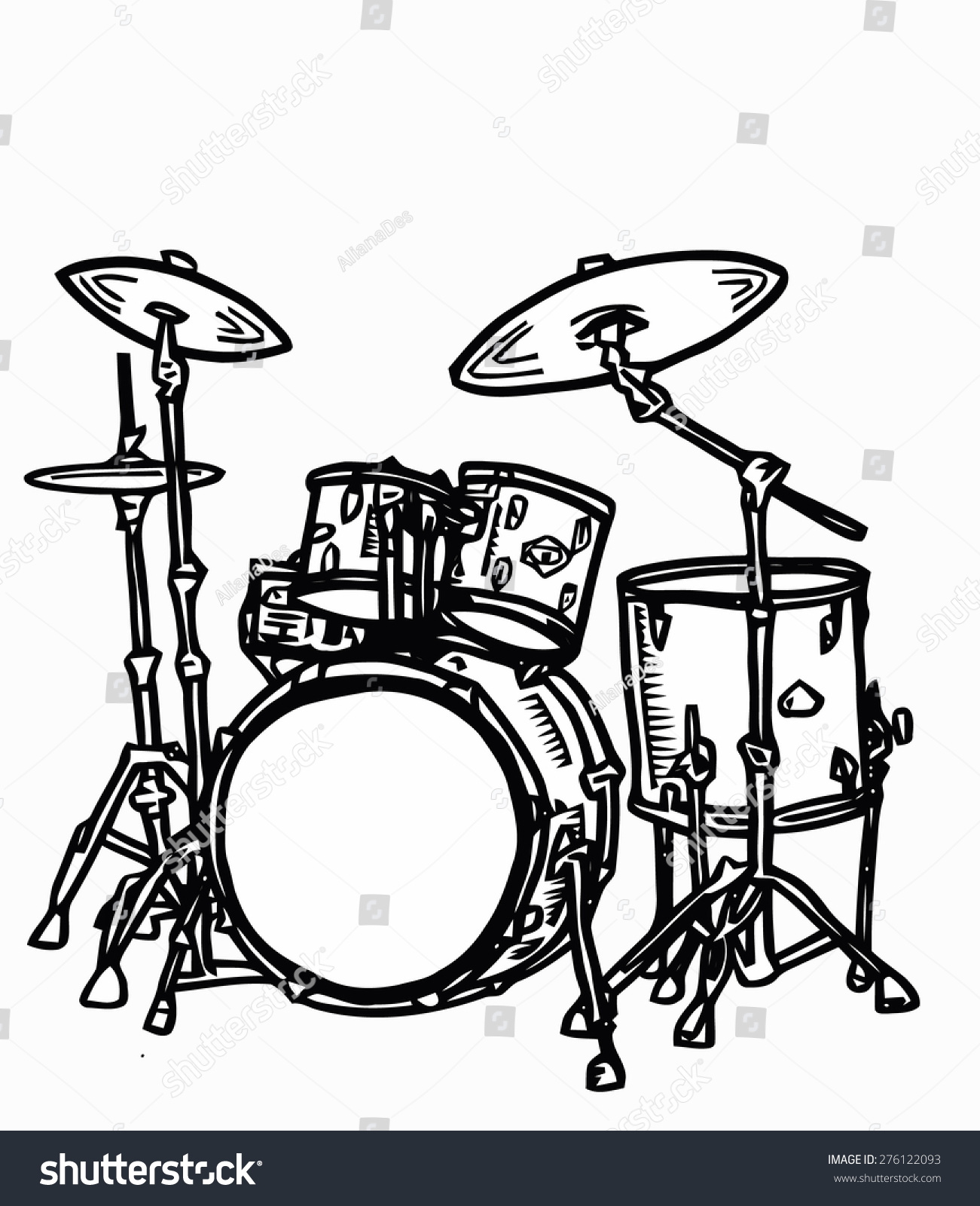 Stock Realistic Illustration Drum Kit Snare Photography For Diagram Of A With Bass In Cartoon And Sketch Style