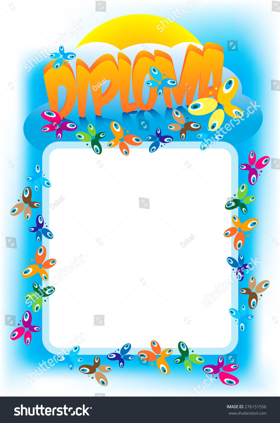 diploma frame kids girls boys women stock vector 276151556