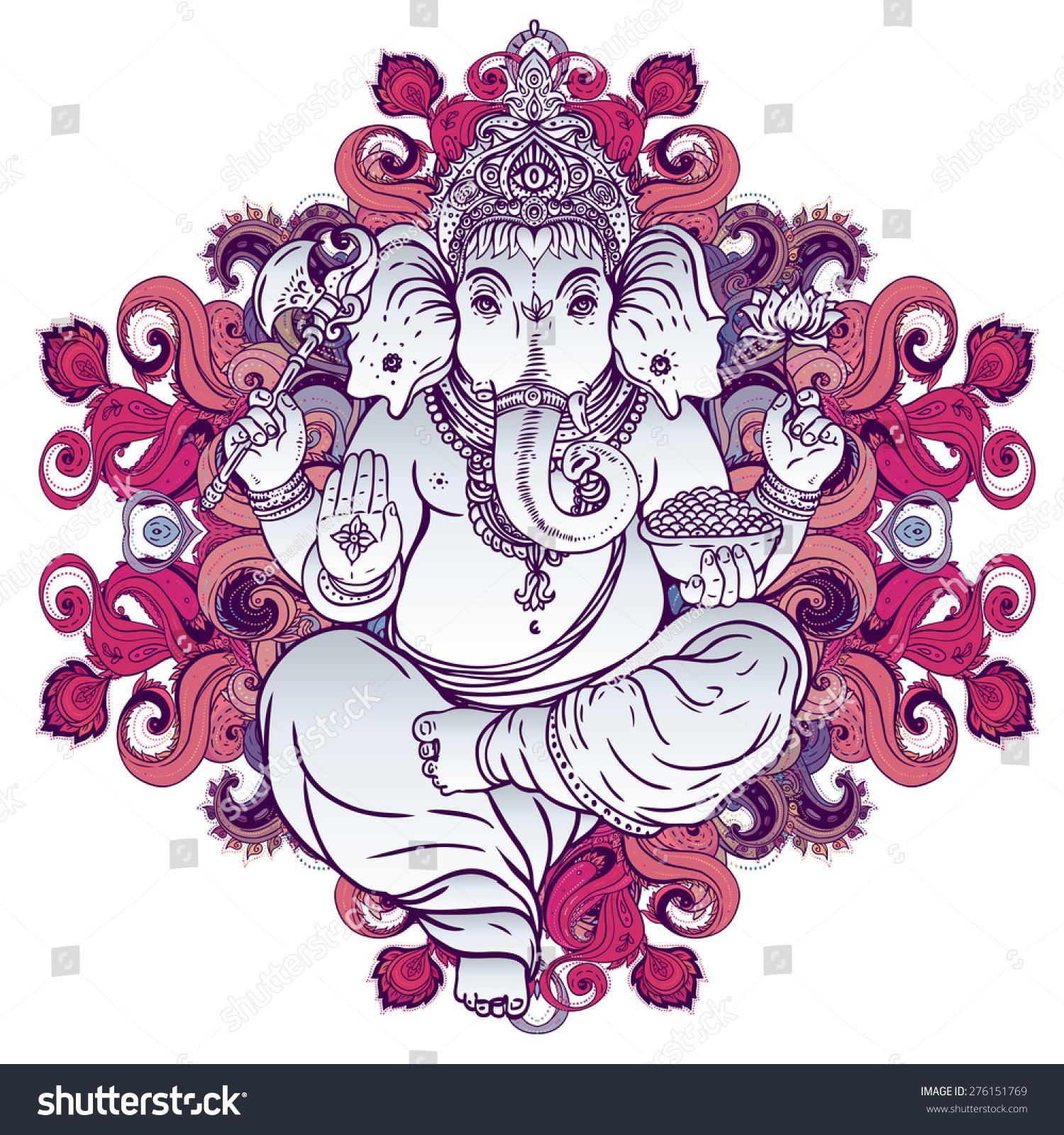 Hindu Lord Ganesha Over Ornate Colorful Stock Vector 276151769