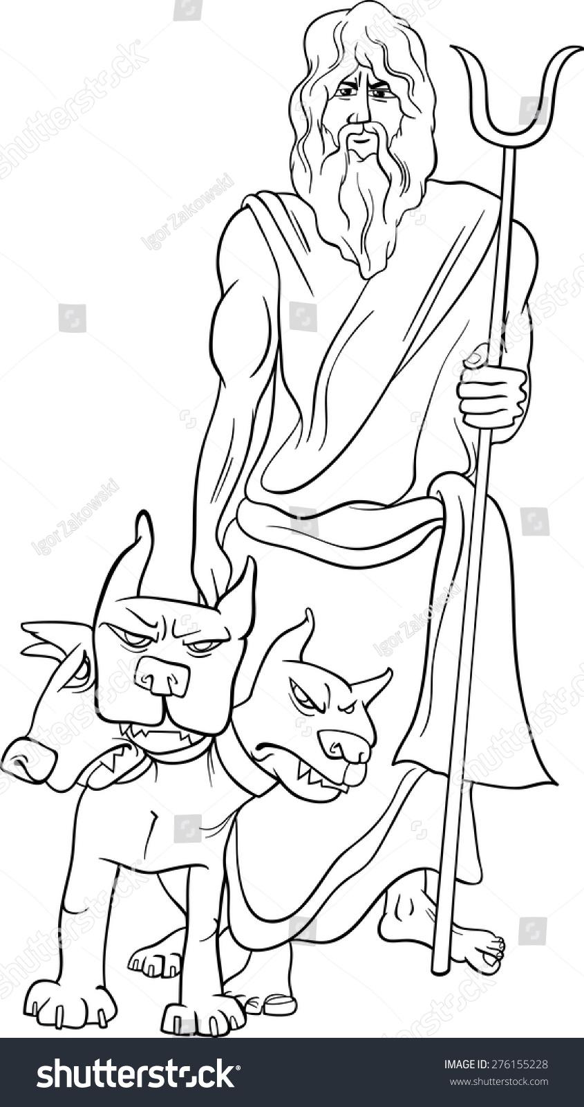 black white cartoon vector illustration mythological stock vector