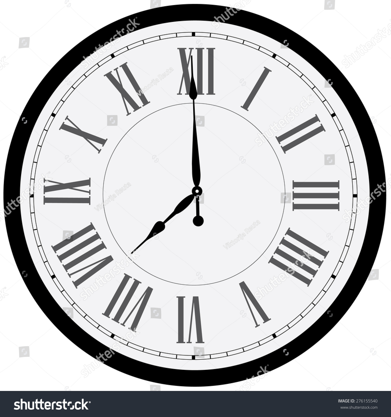 black wall clock vector isolated clock stock vector