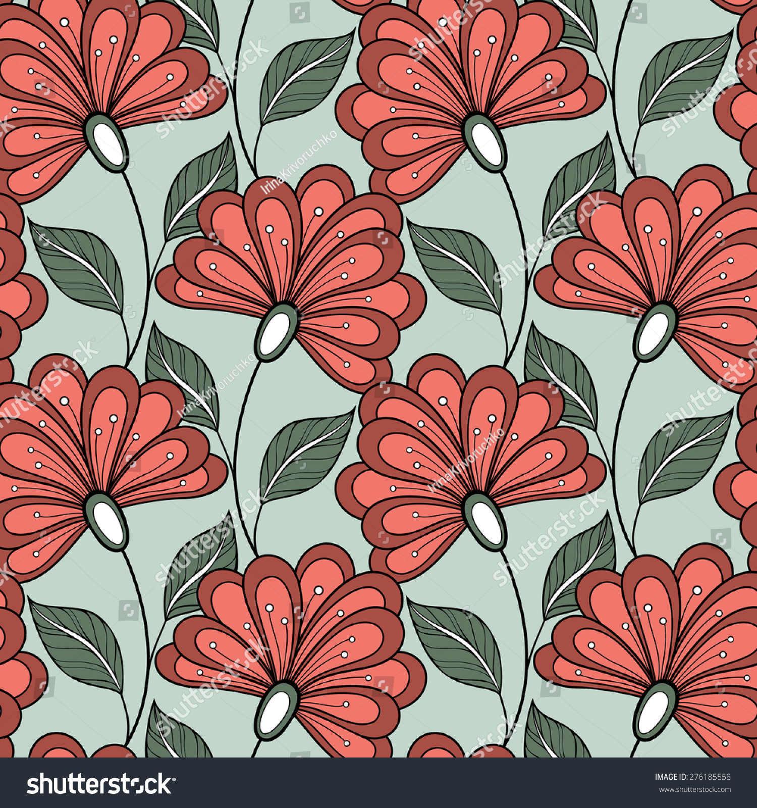 Seamless Floral Pattern Vector Hand Drawn Stock Vector 276185558 ...