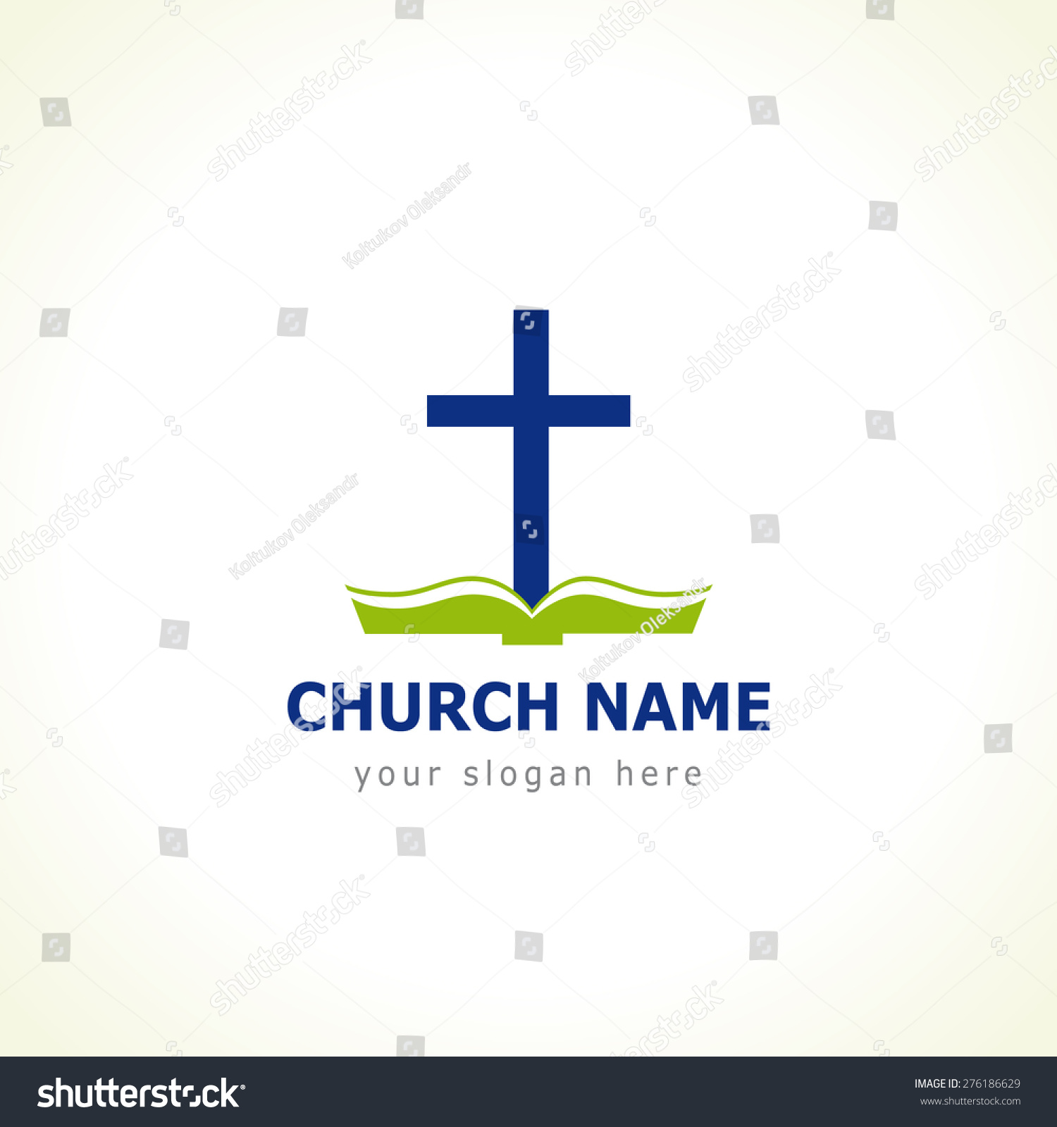 Template logo for the church in the form of a cross with the green Bible Bible cross church logo