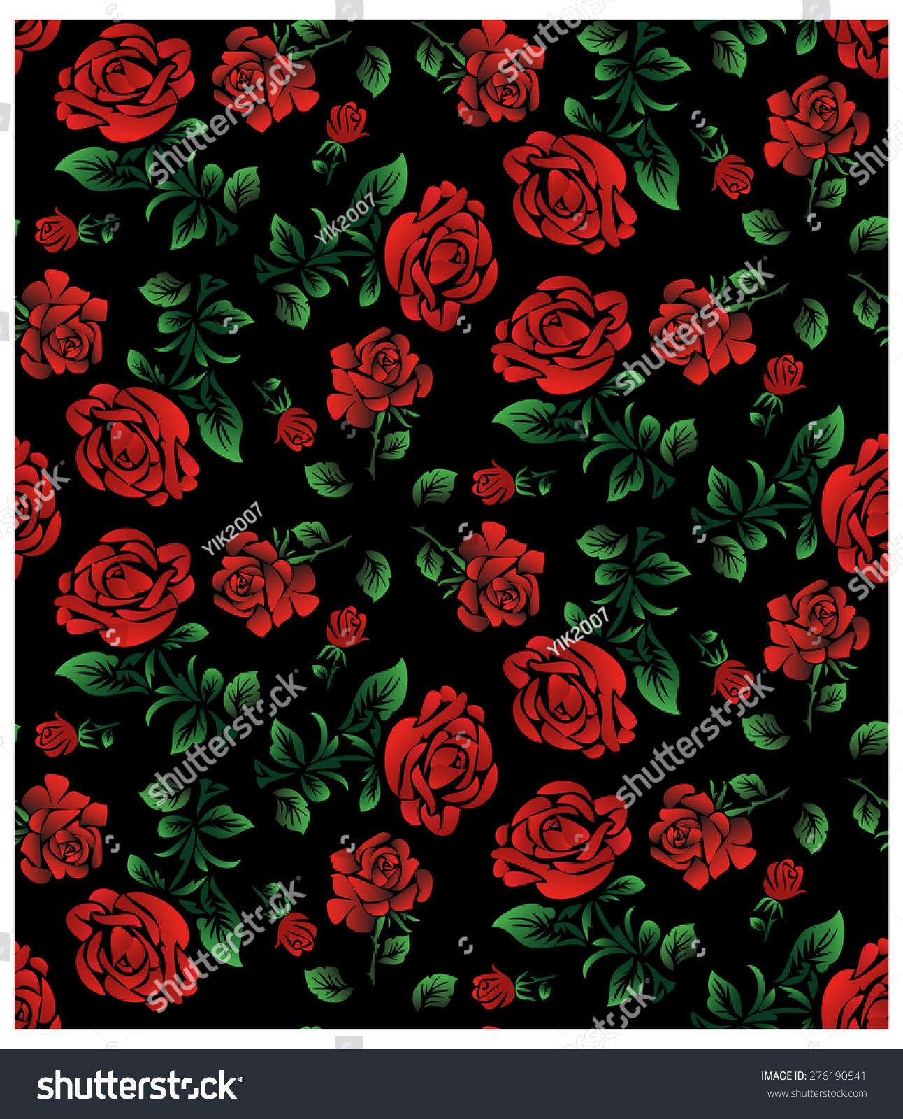 Image Floral Pattern Wallpaper Textile Red Roses Stock Illustration