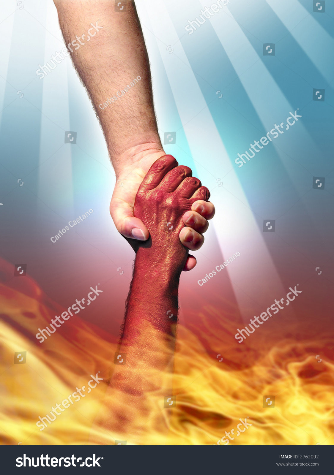 God Making Pact Devil By Shaking Stock Photo 2762092 - Shutterstock