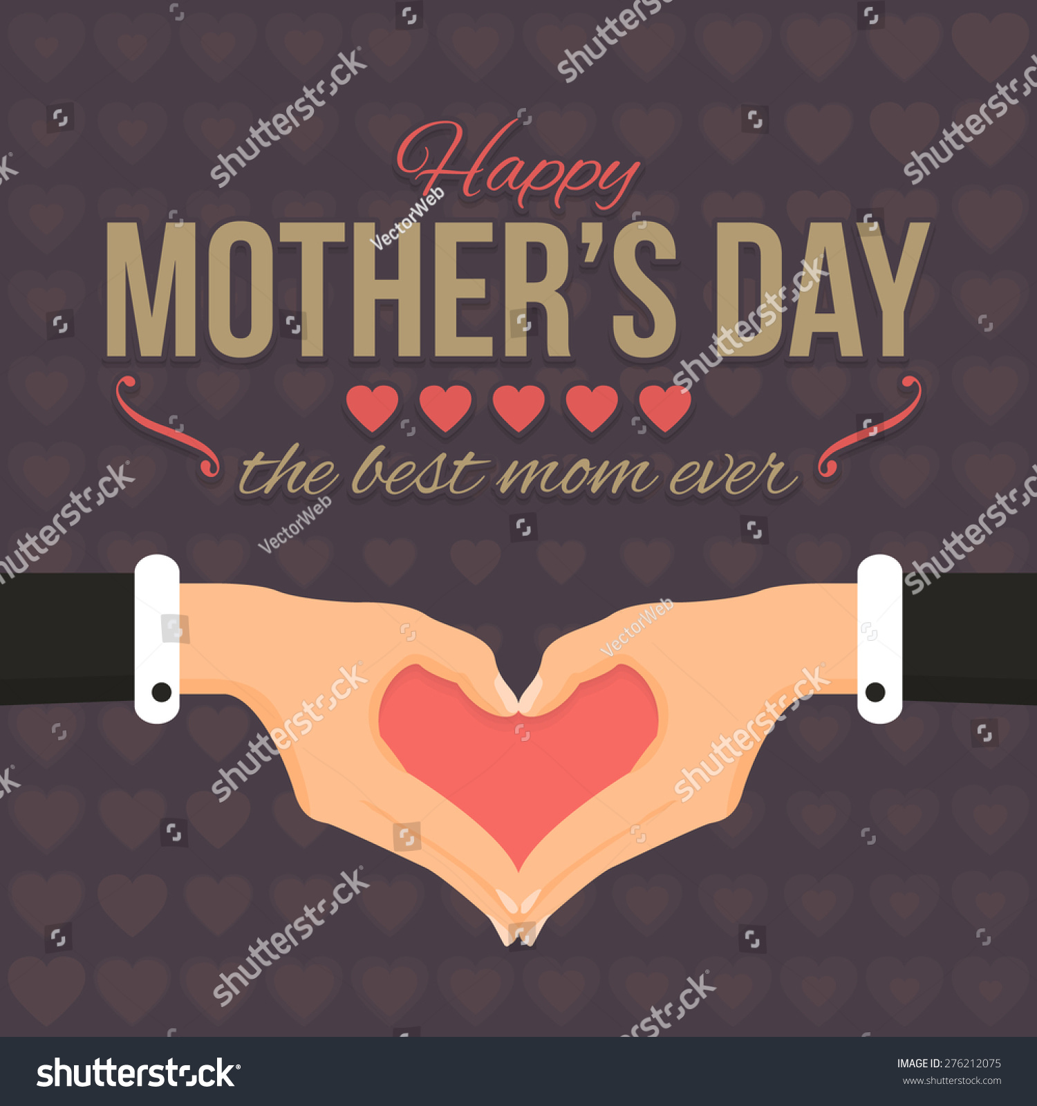 Heart symbol hands happy mothers day stock vector 276212075 heart symbol hands and happy mothers day vector design announcement celebration message poster flyer biocorpaavc