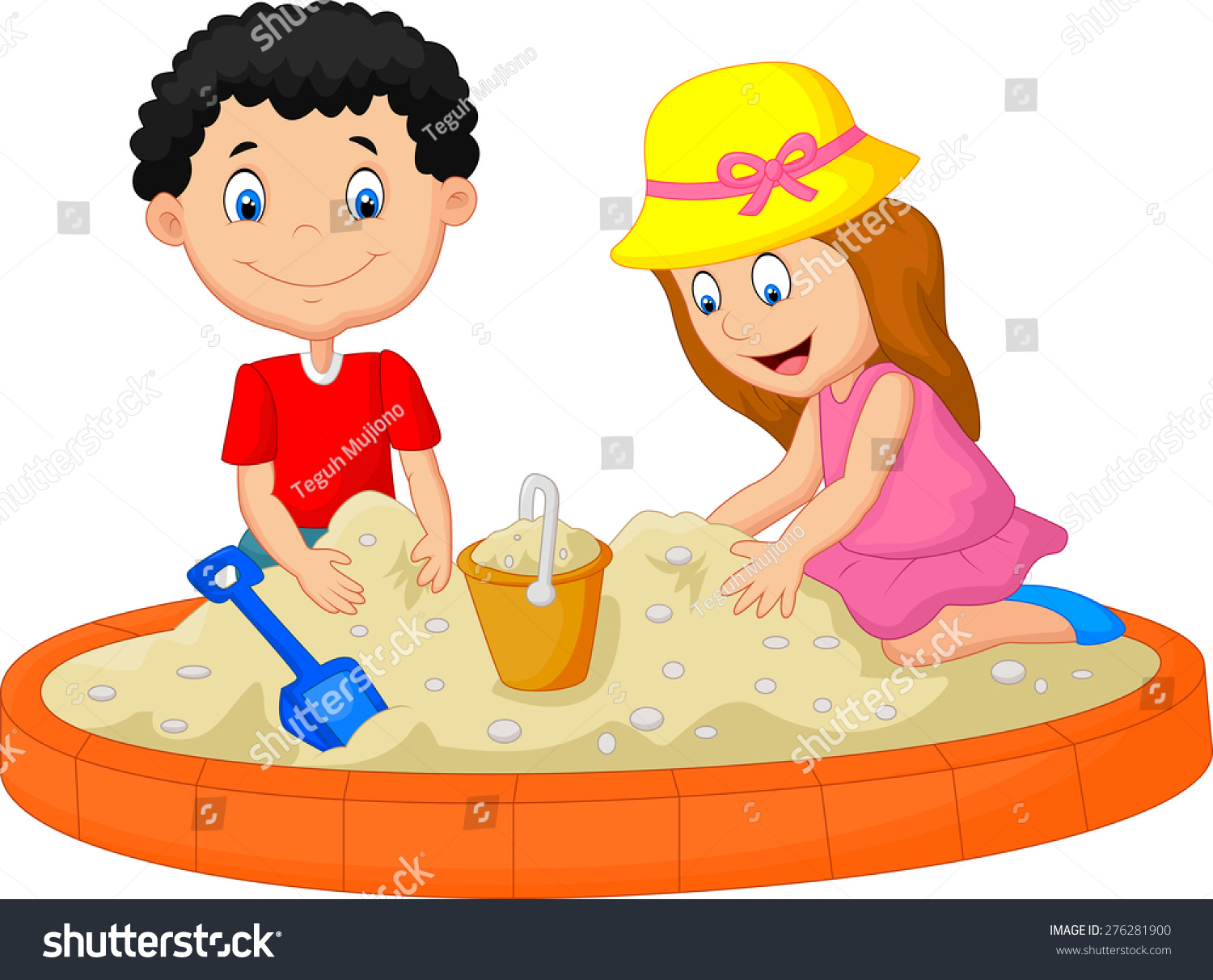 kids playing on beach building sand stock vector 276281900