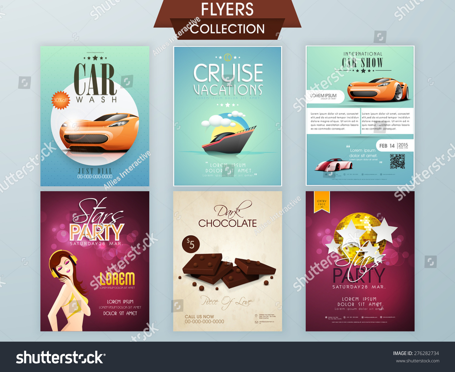Stylish Flyers Car Wash Cruise Vacations Vectores En Stock 276282734 ...