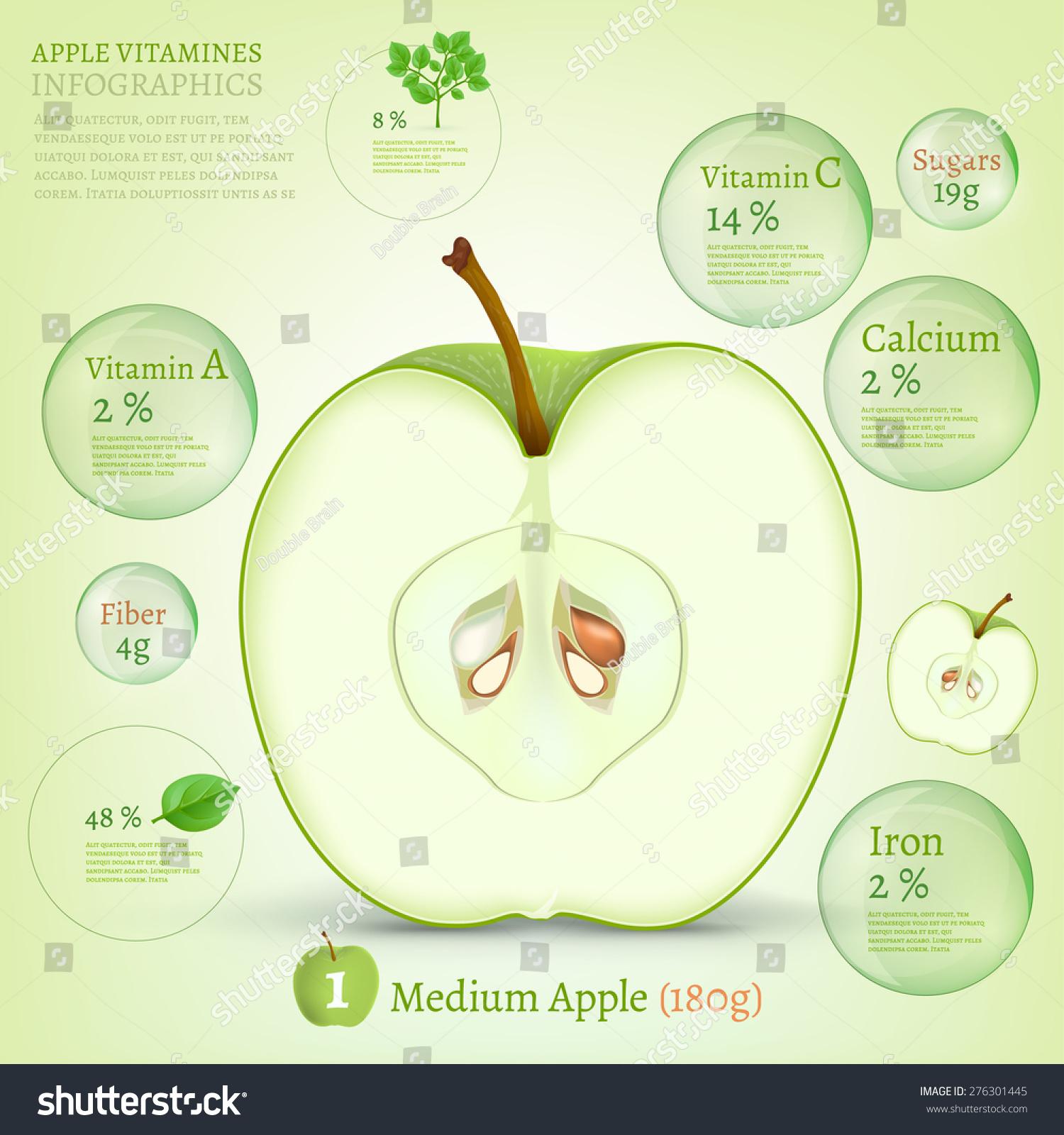 Apple Vitamine Infographic Vector Illustration Useful Stock Vector ...